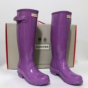 NEW Hunter Original Tall Gloss Boots in Thistle 5